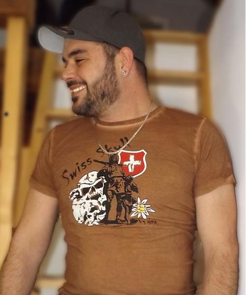 """Swiss Skull T-Shirt """"Rusty Tell"""" LIMITIERT"""