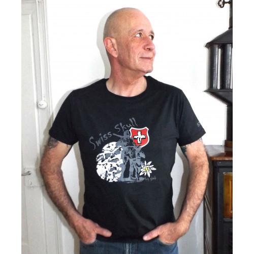 """Swiss Skull T-Shirt """"Tell on black"""""""